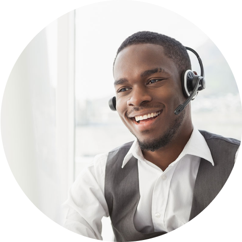 Man on headset with smile on his face